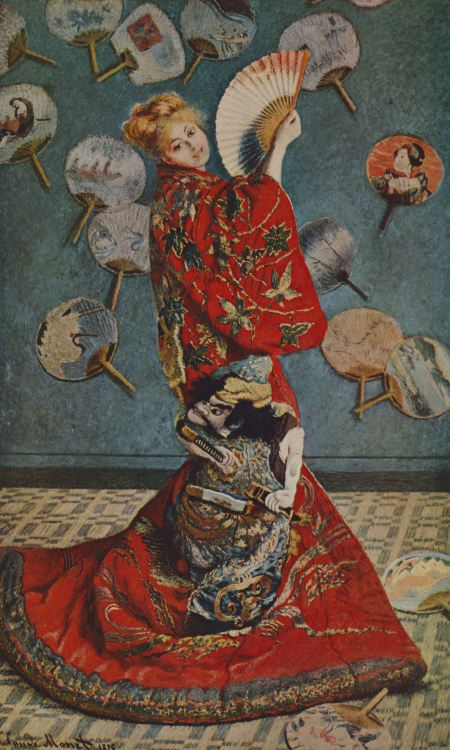 Camile in japanese dress by Claude Monet